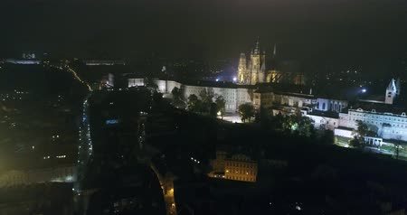 hradcany : Night panorama of Prague, panoramic view from the air to the Old Town Square, lights of the night city, Prague