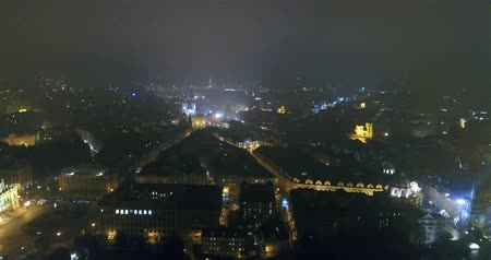 Чарльз : Night panorama of Prague, panoramic view from the air to the old town, lights of the night city, Prague Стоковые видеозаписи