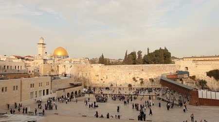 hacı : Israel, Jerusalem western wall. The Western Wall, Wailing Wall, Jewish shrine, old city of Jerusalem, Orthodox Jews pray Stok Video