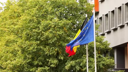 národnost : The european flag and the national german flag of germany with trees and building in the background, dutch and european flags