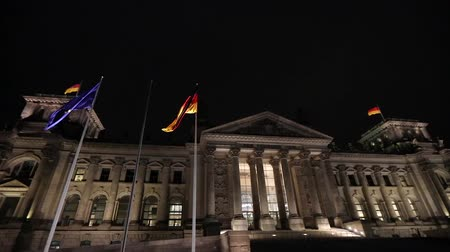 bundestag : The Reichstag building at night in Berlin, Bundestag at night, wide angle, panorama. Germany