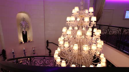 reutilizável : Vintage chandelier in the restaurant, interior Stock Footage