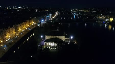 prag : Night city of Prague, Zofin Palace, streets of Prague, PALC OFN, panoramic view from above, aerial