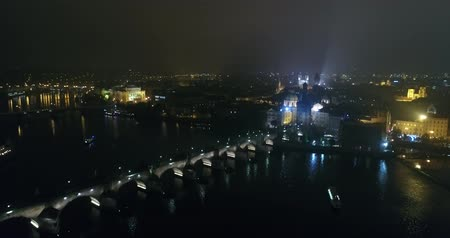 çek cumhuriyeti : Night panorama of Prague, panoramic view from the air to the old town and Charles Bridge, lights of the night city, Prague