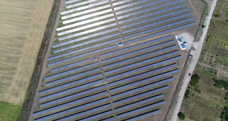 solar : Panoramic view of a solar power plant, rows of solar panels, solar panels, top view, Aerial view to solar power plant