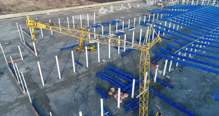 área de trabalho : Plant Construction, Industrial Exterior, Construction of a large factory, Industrial exterior, Construction site, metal and concrete structures, construction machinery,