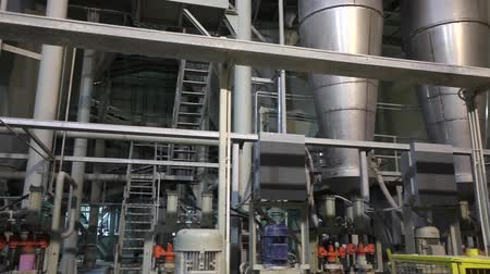 beczka : Industrial interior, modern factory, Interior of a modern factory, processing plant, panorama Wideo