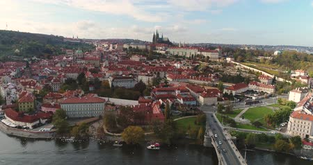 hradcany : Panorama of Prague, aerial of the city, view from above on the cityscape of Prague, flight over the city, Area Old Town, Prague Castle and Vltava River, Czech Republic, Prague Stock Footage
