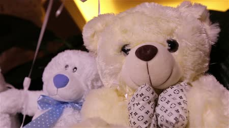 долл : Teddy bears sitting in a row, white teddy bears, helium balloons, cute teddy bear with a butterfly on her neck, soft toy, Interior halls for childrens birthday, a gift, a room, indoors, Teddy bear