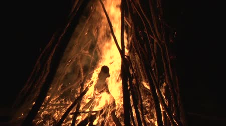 wood glade : night fire sparks flying in the dark night sky, big night bonfire in a clearing in the forest Stock Footage