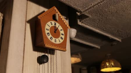 inferior : Old cuckoo clocks hanging on the camp in the room Vídeos