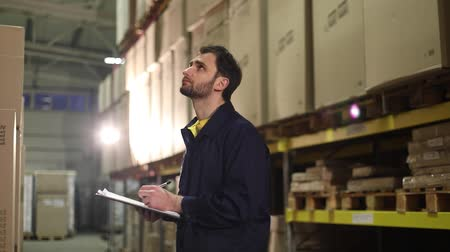 supervisor : The warehouse worker makes an inventory of the goods. The male storekeeper recounts the goods in the warehouse and makes notes, warehouse worker, industrial interior, a warehouse interior Stock Footage