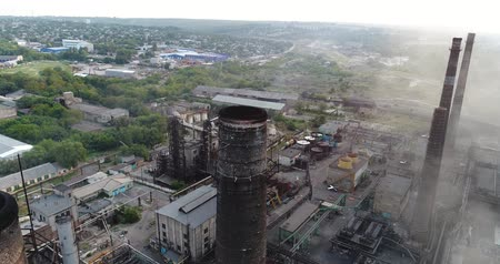 promo : Industrial area top view, View of the industrial object, Courtyard of a factory, Aerial view, Smoke and fire, environmental pollution, environmental pollution, ecological disaster, panoramic view, 4K Stock Footage