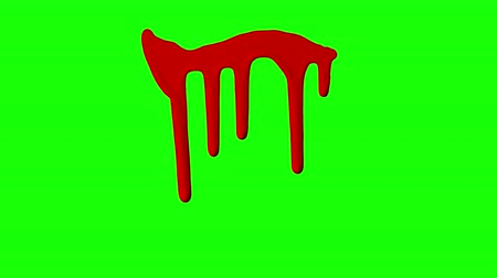dab : Red ink dripping over green screen background. Close-up shot Stock Footage