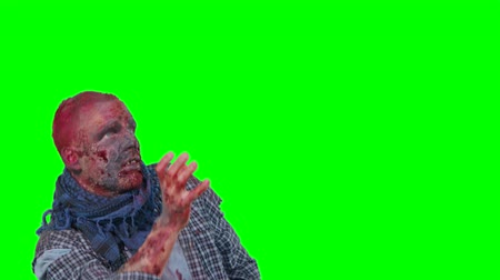 kanlı : Halloween theme horrible scary zombie in clothes dance and want to catch you isolated over green screen background