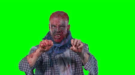 korkunç : Halloween theme horrible scary zombie in clothes breaks out of the bottom of the screen and want to catch you isolated over green screen background Stok Video
