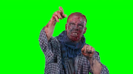 isteyen : Halloween theme horrible scary zombie in clothes breaks out of the bottom of the screen and want to catch you isolated over green screen background Stok Video