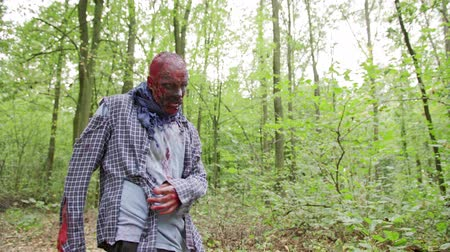 apocalyptic : Zombies male are walking through the woods. Stock Footage