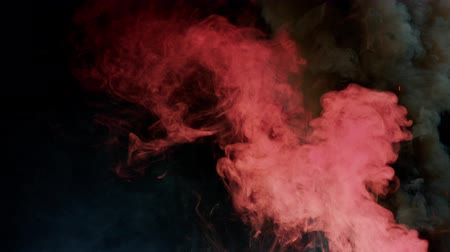 fontain : pink and black bomb smoke on black background Stock Footage