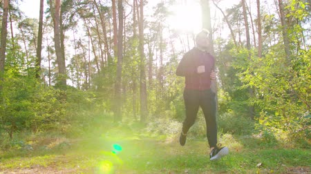 perspiration : A young man running in the forest. Long shot. Lens flare