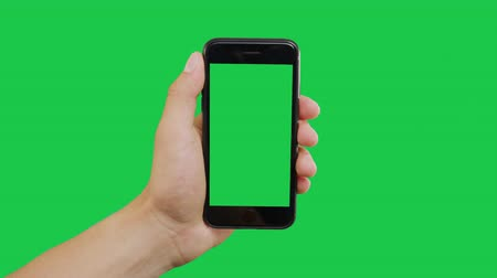 okos telefon : Bottom Left Click Smartphone Green Screen. Pointing Finger Clicking On Phone Screen with Green Background. Use in any project that depicts finger, gesture, touchscreen and the like.