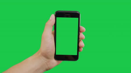 メッセンジャー : Bottom Center Click Smartphone Green Screen. Pointing Finger Clicking On Phone Screen with Green Background. Use in any project that depicts finger, gesture, touchscreen and the like.