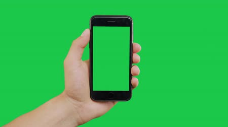 mensajero : Finger Swipes Center Left Smartphone Green Screen. Pointing Finger Clicking On Phone Screen with Green Background. Use in any project that depicts finger, gesture, touchscreen and the like.
