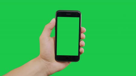 mensajero : Finger Swipes Right Smartphone Green Screen. Pointing Finger Clicking On Phone Screen with Green Background. Use in any project that depicts finger, gesture, touchscreen and the like.