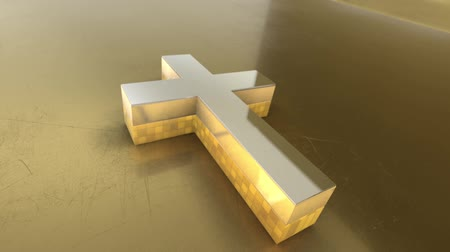 baptism : Christian Cross 3D Symbol Stock Footage