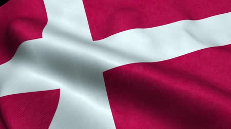 kopenhagen : Vlag van Denemarken Seamless Looping Waving Animation Stockvideo