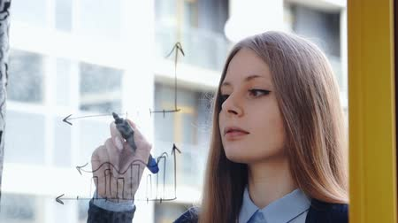 skyscraper : Lifestyle: beautiful young woman drawing math business graphs on the glass with skyscraper on background. Close-up shot, static. Stock Footage