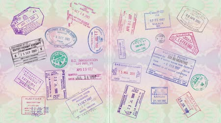 葡萄收获期 : Animation Of Vintage Stamps On A Passport