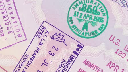 kanada : Animation Panning Over Stamps In A European Passport