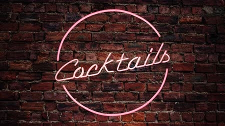 неон : Flashing Pink Neon Cocktails Sign Against A Red Brick Wall Outside A Bar