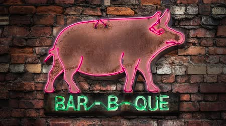 méz : Flashing Neon Rustic Old Pig Sign For A Bar-B-Que (Barbecue Or BBQ) Diner