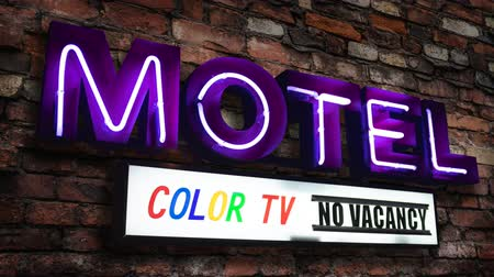 vaga : Retro Neon Motel Sign In California Advertising A Color TV