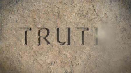 bizonyítani : Conceptual Fake News Image Of The Word Truth Disappearing From Stone