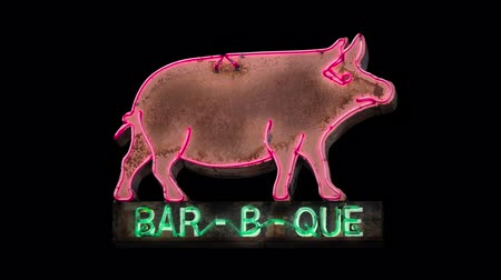 méz : Isolated, Looping Flashing Neon Rustic Old Neon Pig Sign For A Barbecue (BBQ) Diner