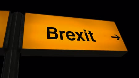 urlop : Broken British Style Orange Airport Sign With An Arrow And The Word Brexit