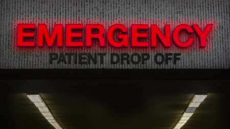 連邦政府の : Healthcare Video Of A Rundown Emergency Room Sign At A Hospital With Broken Light
