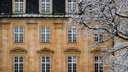 snow flurry : Snow Lightly Falling Outside A Luxury Mansion House In Europe