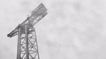 dockyard : Fog Rolling By An Industrial Shipbuilding Crane With Copy Space