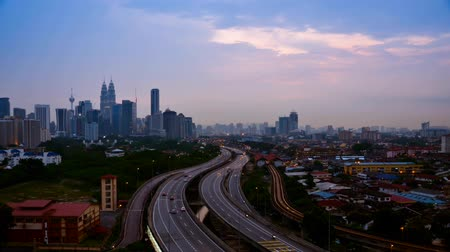 kuala lumpur skyline : Scenery of Kuala Lumpur with stunning light trail from the busy highway traffic time lapse