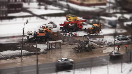 road construction : construction site, time lapse shot  with tilt shift effect. Stock Footage