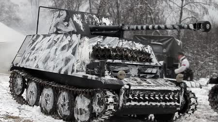 war tank : German tank of World War 2 in camouflage coloring Stock Footage