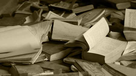 livros : ruined library Pages in a book turn. Close to Loop ready File Stock Footage