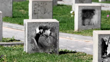 headstone : empty gravestone monument to the unknown soldier Stock Footage