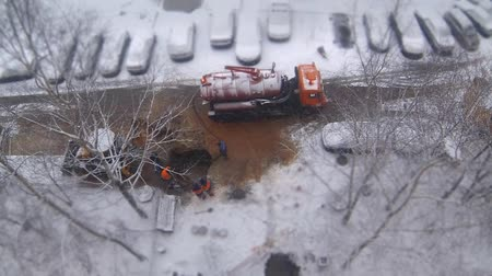 repair team coordinated work view from above time lapse Stock mozgókép