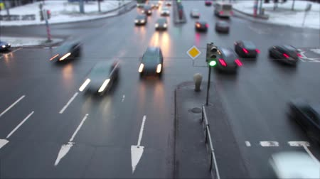 Fast main road traffic Time lapse top view Stock Footage