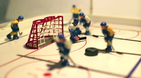 hokej : hockey table game Goal macro shot Wideo
